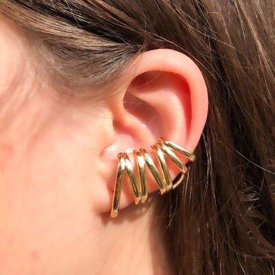 Brinco Ear Cuff Garras Banho de Ouro 18 K Semijóia