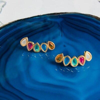 Brinco Ear Cuff Candy Colors Banho de Ouro 18 K Semijóia