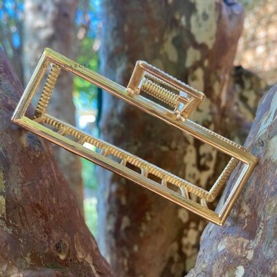 Piranha Retangular Metal Dourada