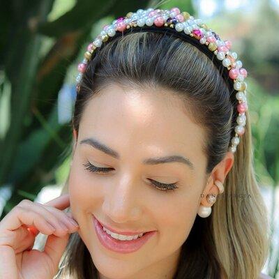 Tiara Bordada Pérolas Rosa