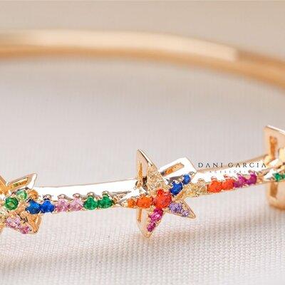 Bracelete Estrela Colorida Prata com Banho de Ouro 18 K