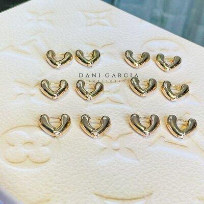 Argola Coração Tubular Banho de Ouro 18 K