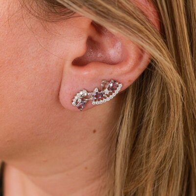 Brinco Ear Cuff Leque Ametista Prata 925