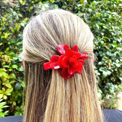 Presilha Flor Vermelha G Acetato