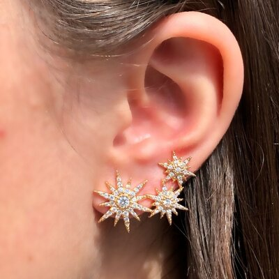 Brinco Ear Cuff Constelação Banho de Ouro 18 K Semijóia