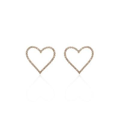Brinco Coração Vazado Zircônias Banho de Ouro 18 K Semijóia