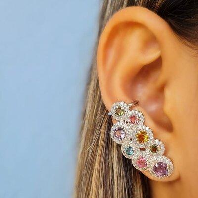 Brinco Ear Cuff Colorido Bolas Semijóia