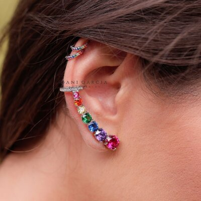 Brinco Ear Cuff Zircônias Coloridas Prata 925