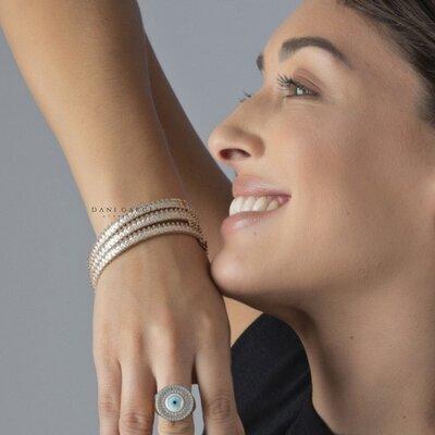 Bracelete Retangulares Banho de Ouro 18 K
