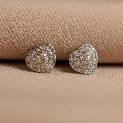 Brinco Coração Cravejado 3 Fileiras de Zircônias Prata 925