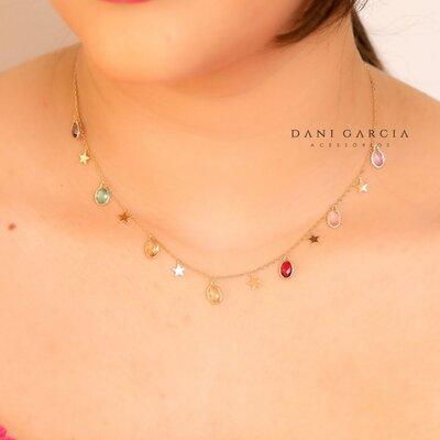 Gargantilha Colorida com Estrelas Prata com Banho de Ouro 18 K