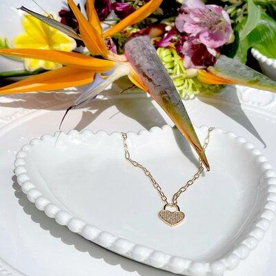 Colar Cadeado Coração Banho de Ouro 18 K Semijóia
