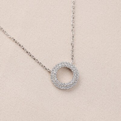Colar Círculo Cristal Prata 925