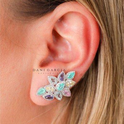 Brinco Ear Cuff Luxo Candy Colors Prata 925