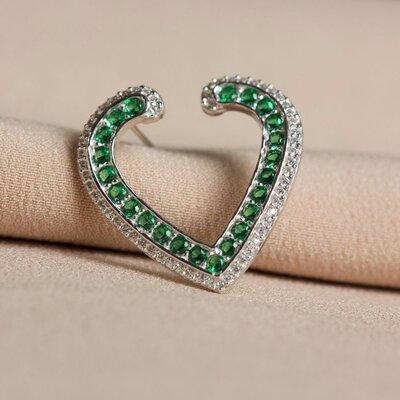 Brinco Coração Cravação Esmeralda Prata 925