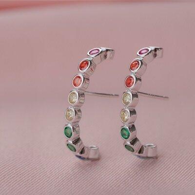 Brinco Ear Hook Zircônias Redondas Coloridas Prata 925
