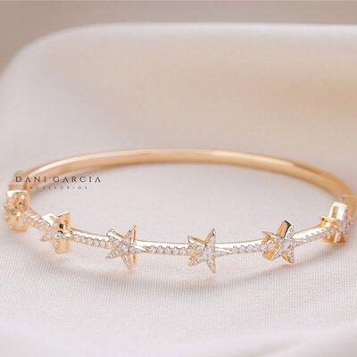 Bracelete Estrela Prata com Banho de Ouro 18 K (cópia)