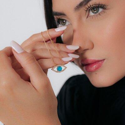 Colar Olho Grego Azul Banho de Ouro 18 K Semijóia