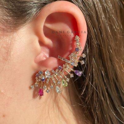 Brinco Ear Cuff Colorido Raios Banho de Ouro 18 K