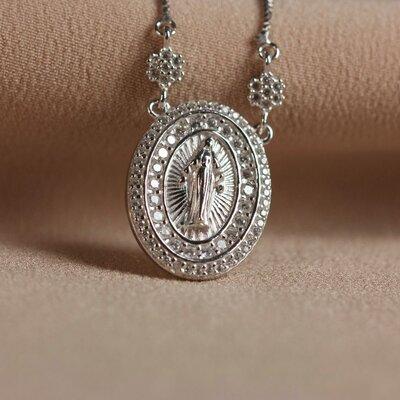 Colar Nossa Senhora das Graças Prata 925
