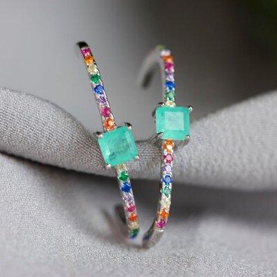 Brinco Ear Hook Colorido e Zircônias Prata 925
