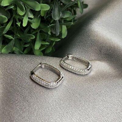 Argola Quadrada Zircônias Cristal Prata 925