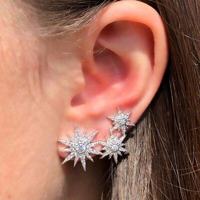 Brinco Ear Cuff Constelação Ródio Branco Semijóia