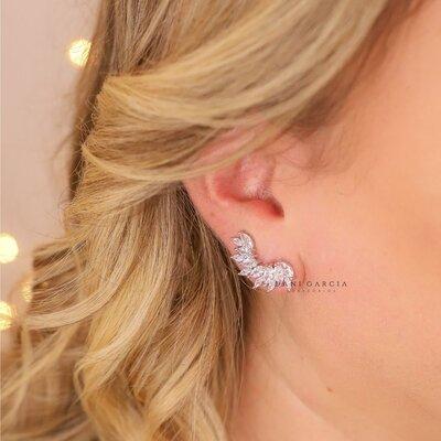 Brinco Ear Cuff Curva Navetes Prata 925