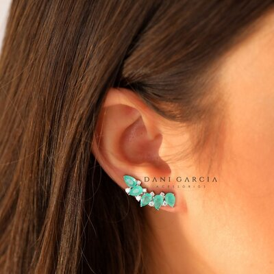 Brinco Ear Cuff Gotas Colombiana Prata 925