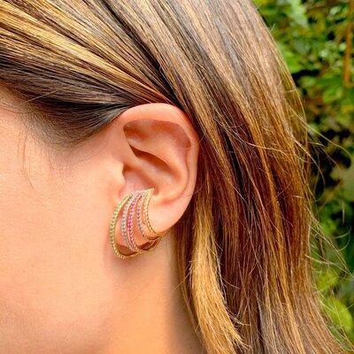 Brinco Ear Hook Sem Pino Zircônias Coloridas Banho de Ouro 18 K Semijóia