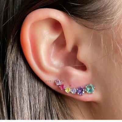 Brinco Ear Cuff Zircônias Rendondas Coloridas Prata 925