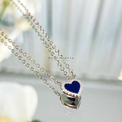 Colar Coração Lápis Lazuli Prata 925