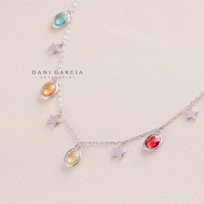 Gargantilha Colorida com Estrelas Prata 925