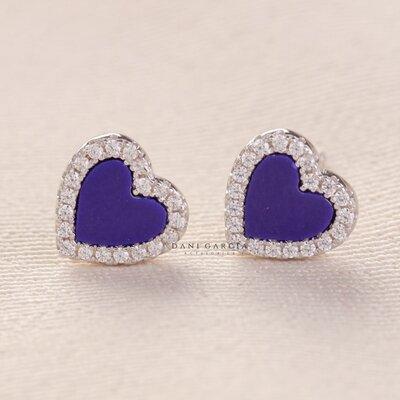 Brinco Coração Lápis Azuli Prata 925