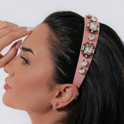 Tiara Cetim Rosa Pedras