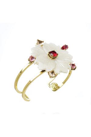 Bracelete Aro Duplo Flor Madrepérola