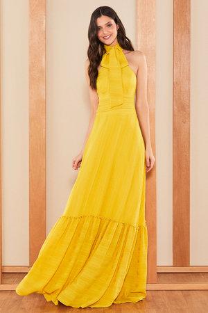 Vestido Longo Silk Maquinetado