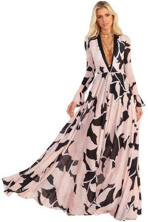 Vestido Longo Lana Flower Black