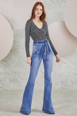 Calça Jeans Flare com Faixa