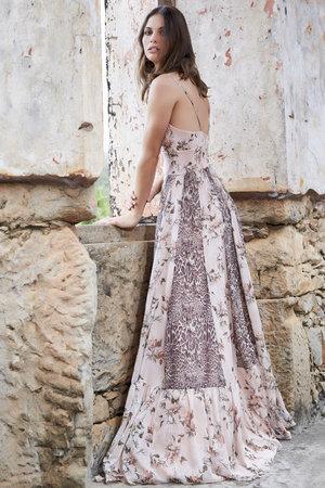 Vestido Longo Floral Mix Onça