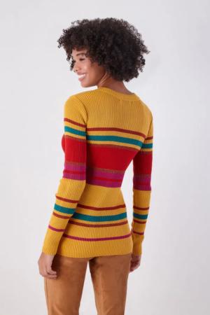 Blusa Tricô Color Listras Lurex
