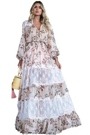 Vestido Longo Floral Mix de Renda