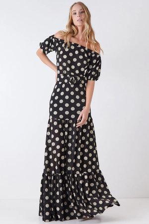 Vestido Longo Polka Dots Ciganinha