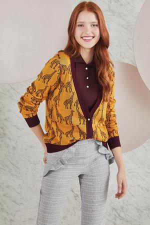 Suéter Decote V Girafas