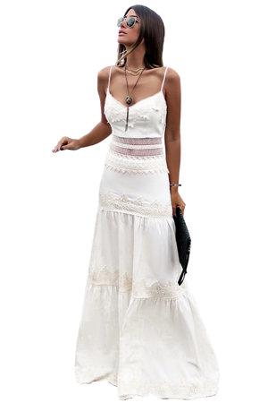 Vestido Longo Linho com Renda