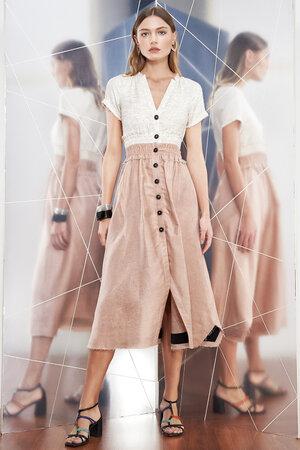 Vestido Tweed Linho Franzido na Cintura