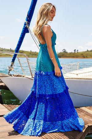 Vestido Longo Renda Shades Of Blue