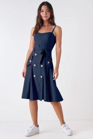 Vestido Midi Linho Clochard