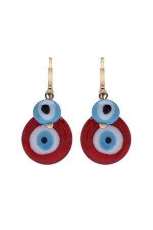 Mini Argola Olhos Vermelhos e Turquesa