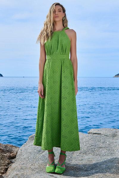 Vestido Laise Alça Trança Verde